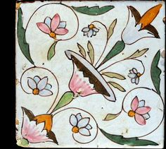 18th Century Italian Tile -  Made by Della Donne - Napoli - Handmade tiles can be colour coordinated and customized re. shape, texture, pattern, etc. by ceramic design studios