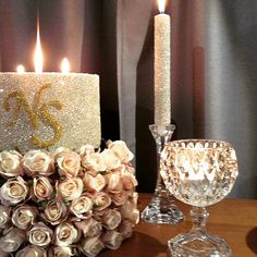 Large wedding candle with initials.