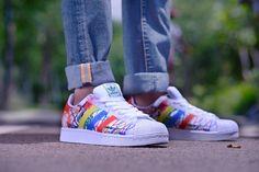 Adidas Superstar Prämie Graffiti Original Herren Sport Schuhe B35842 Weiß…
