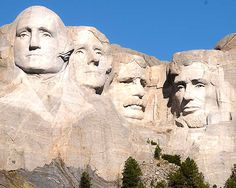 Mt. Rushmore - South Dakota: Sculptures of George Washington, Thomas Jefferson, Theodore Roosevelt and Abraham Lincoln
