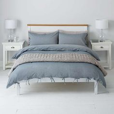 BuyJohn Lewis Chambray Ties Duvet Cover and Pillowcase Set, Double, Blue Online at johnlewis.com