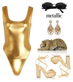 """""""Metallic Swimsuit  #fashion #polyvore #metallic #swimsuit #style #summer"""" by luciargx ❤ liked on Polyvore featuring Alchimia Di Ballin, Oscar de la Renta and Judith Leiber"""