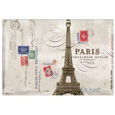 Fringe Studio Eiffel Tower Tray. Vintage art transferred and kiln-fired to transferware glass.