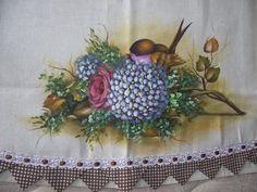 Flores e pássaros - Pano de copa