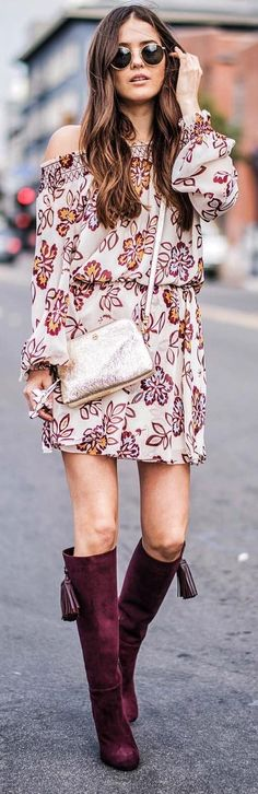 #winter #fashion /  Off Shoulder Printed Dress + Purple Velvet OTK Boots