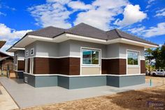 Elegant One Storey House Design - House And Decors Modern Bungalow House Design, One Storey House, House Design Pictures, Architectural House Plans, My House Plans, Design Exterior, Storey Homes, Plan Design, Model Homes