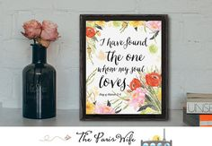 Bible Verse Art Song of Solomon Printable Art I have found the one Wall Art Nursery Art Instant Download Watercolor Floral Art Print Design