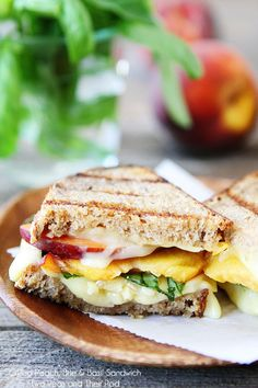 Grilled Peach, Brie, & Basil Sandwich Recipe on twopeasandtheirpo. A simple summer sandwich with gourmet Think Food, I Love Food, A Food, Good Food, Food And Drink, Yummy Food, Tasty, Brie Sandwich, Soup And Sandwich