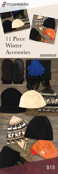 """11 Piece Winter Bundle Adult orange knit Helly Hansen hat with fleece inside and, Sac Kings purple, black and white hand made knit hat from Peru never worn, genuine alpaca knit 60"""" x 7.5"""" black scarf, beige, brown and black hand knit from Peru 11"""" width, new & still attached to each other blue knit gloves, black fleece 60"""" scarf, Reush Gortex mittens with leather palms- some wear but great for extra pair of gloves or for frosty! Cream colored fleece hat 10"""" wide 8"""" tall, 2 black fleece hats…"""