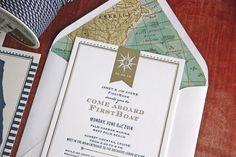 Event Invitation and branding / silver foil & letterpress invite / Nautical Invitation ©TennHens