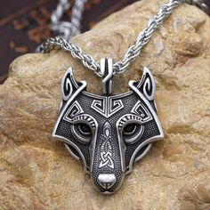 Wolf Head Viking Pendant on Metal Chain - Norse Spirit Wolf Jewelry, Viking Jewelry, Animal Jewelry, Silver Jewelry, Fine Jewelry, Jewelry Necklaces, Silver Ring, Beaded Jewelry, Jewelry Accessories