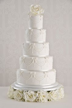 Channel Pearl 5 tier ivory wedding cake