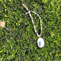 Tan Stone Beaded Necklace by Hensley Grace Designs.