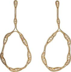 """Exclusively Ours! Brazilian designer Fernando Jorge sculpted his Fluid Diamonds Trapeze Earrings out of polished 18k gold. Crafted using flexible snake chain, the organically shaped drop earrings are embellished with sparkling diamonds. From the Fluid Diamonds Collection 1.61 ct round white diamonds Polished 18k gold 2.75"""" drop (approximately) Post back Made in Brazil"""