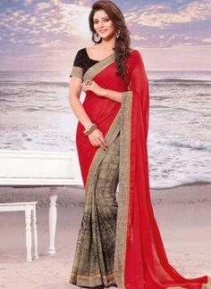 Red Grey Border Lace Work Georgette Printed Fancy Half Designer Saree http://www.angelnx.com/Sarees/Designer-Sarees