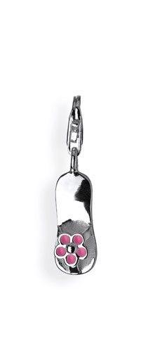 Sealife Charm, Flip Flop aus Silber mit rosanem Brandlack und Karabiner.
