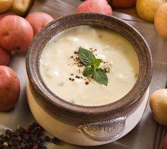 Slow Cooker Cream of Potato Soup-- lightened up yet still super creamy and lush! #crockpotcreamofpotatosoup