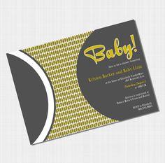 Vintage Baby Shower Invites - Retro Baby Shower Invitations - DIY Printable Gender Neutral Invites