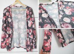¡Hola!   Esta semana traigo un vídeo tutorial para hacer esta chaqueta de punto  tan floreada y muy, muy fácil de hacer. Últimamente las ... Cardigan, Couture, Sewing Clothes, Pattern Making, Clothing Patterns, Kimono Top, Trousers, Coat, How To Make