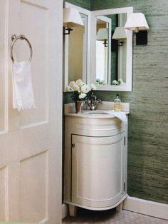Great Fabulous Small Apartment Bathroom Ideas With Corner Vanity And Drop In Sink