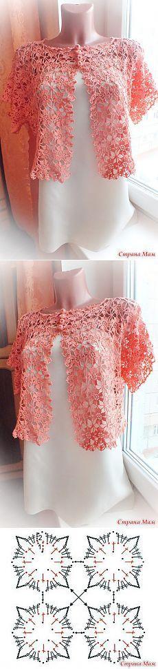 "Вот она моя первая вещичка к лету. - Вязание - Страна Мам [ ""Crochet bolero jacket motif"", ""Knitting: Crochet, interesting ideas with diagrams // надежда тафатулина"" ] # # # # # # # # # Poncho Au Crochet, Crochet Coat, Crochet Shirt, Crochet Jacket, Irish Crochet, Crochet Clothes, Crochet Stitches, Crochet Designs, Crochet Patterns"
