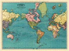 "Vintage world map - Antique world map print - 25 x 33 "" (large format). $48.00, via Etsy."