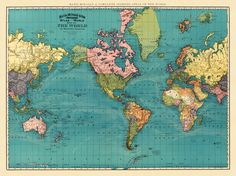 "Antique world map print - 25 x 33 "" (large format). $48.00, via Etsy."