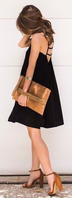 #spring #street #fashion #outfitideas  Lovely LBD + Touches Of Brown   The Style Bungalow