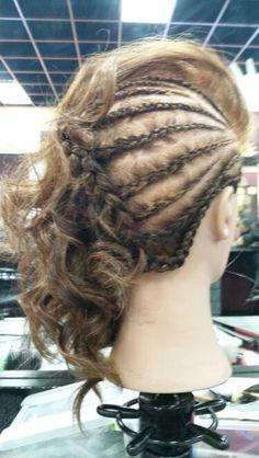 Braids & Curls On The Side