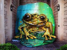 Yellow Frog by Artur Bordalo (Bordalo II) #streetart #art
