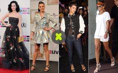 Katy Perry e Rihanna Fato: a ousadia une estas duas amigas. Embora Katy varie bastante de estilo, uma de suas principais características é o bom-humor na hora de se produzir. Ela sempre insere elementos de moda ou de beleza que a fazem ficar sexy e divers ao mesmo tempo. Riri prefere a linha street. Ela curte mixar peças do dia a dia, como camisetas esportivas e bonés (ou viseiras, no caso), com saltos e outras acessórios mais phynos.