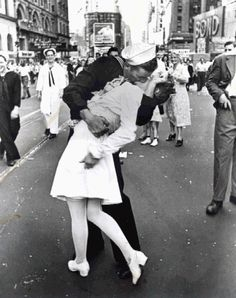 "Just so everyone is aware, this has nothing to do with love, ""legend"" says, this man didn't even know this woman, He had been overseas for 5 years, and the moment they all came home he grabbed this young women and kissed her. She told the press over 62 years later, that she never saw that man again, but she enjoyed every minute of there 2 minute fling. True story."