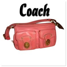 "GORGEOUS PINK LEGACY VACHETTA LEATHER COACH PURSE Pretty rose pink bag with some wear of color on the corners and a small lighter spot on the bottom, otherwise super clean Measures: 8"" H x 12"" W x 4"" D Drop – 10 inches  Polished solid brass hardware Strap attached w/""O"" ring / Lobster claw clasp Top zip closure with long leather pull 2 turnlock front pockets Full-length exterior pocket w/leather pull Zip Storage Pocket & 2 slip pockets Convenient ""D"" ring for keys Taupe/brown Coach signature…"