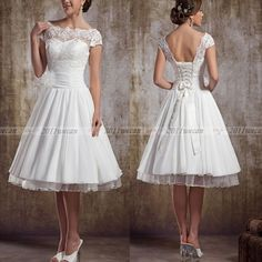 White/Ivory Short Sleeve Vintage Lace Short Wedding Dresses UK 6 8 10 12 14 16 | eBay