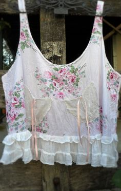"""Vintage shabby chic style cotton prairie """"over"""" top by pinkdiamonds on Etsy"""