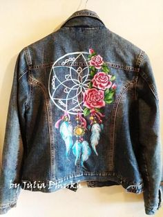 Самоделки | Сделай сам Painted Denim Jacket, Painted Jeans, Painted Clothes, Look Fashion, Diy Fashion, Denim Art, Estilo Hippie, Denim Ideas, Batik