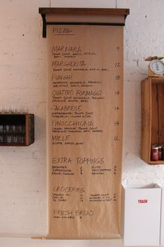 Butcher Paper Menu at Pizzeria Farina in Vancouver