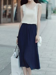 $11.48 Casual Style Scoop Collar Sleeveless Color Block Pleated Sundress For Women