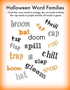 Halloween Word Families - free printable! Fun for beginning readers!