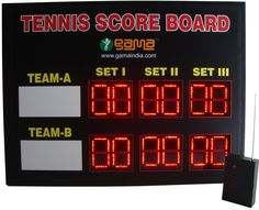 TENNIS SCOREBOARD 1.Operating Voltage:-  100-275v A.C., 50/60 Hertz, View angle more than 120 degree, View distance       300mtr.  2. High Intensity LED Display 3. Radio Frequency Remote Controlled having Range of 500mtr 4. High Intensity LED