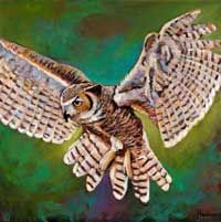 Great Horned Owl in flight. Acrylic painting on canvas. Wildlife painting by Johnathan Harris.