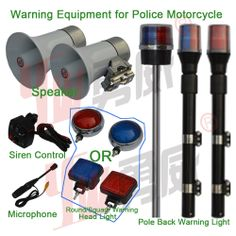 Warning Equipment for Police Motorcycle, such as #Speakers,#SirenControl, #Microphone, Warning #Headlight, Warning Back Pole #Light