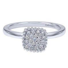 Gabriel Cushion Shaped 0.16 Carat Diamond Pave Cluster 14K White Gold Fashion Ring LR50267W45JJ at Ben Garelick Jewelers, Buffalo NY 14221