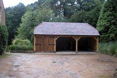 Three bay oak framed garage, with one enclosed garage with wooden hinged doors and two open car port bays. Patio Roof, Pergola Patio, Pergola Plans, Pergola Ideas, Terrace Ideas, Small Pergola, Cheap Pergola, Pergola Designs, Timber Garage