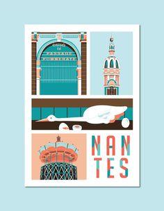 Nantes affiche A3, Affiche, Art, Nantes, Illustration vectorielle, Cadeau, Affiche murale, Décoration murale, Décor dintérieur, Lea Lafleur poster.