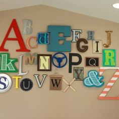 Decorate the nursery or playroom walls with the alphabet.