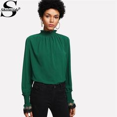 74fc364f84256 Sheinside Casual Green Blouse Women Stand Collar Butterfly Sleeve Contrast  Lace Mesh Plain Top 2018 Spring