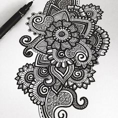 Black and white doodle   Hope everyone is having an awesome day!❤️ -♡- {#zentangle#mandala#black#pen#fineliner}