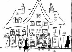 Embroidery Pattern of Shops. Image Only. From QuiltMyDesign.dk in Denmark. A lot to choose from. Change names on Shops. Quilt Shoppe here! jwt