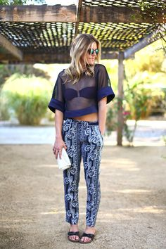 Designer Kate Ciepluch in a Laveer Top and Chalk the Label printed pants.  - Coachella 2014